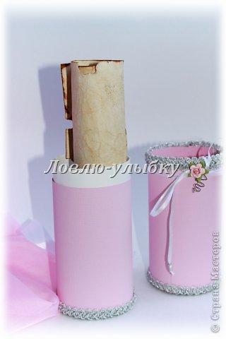 Открытка, Упаковка Аппликация: Свиток - поздравление в тубе Бумага Свадьба. Фото 2
