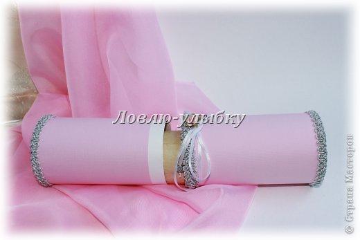 Открытка, Упаковка Аппликация: Свиток - поздравление в тубе Бумага Свадьба. Фото 4