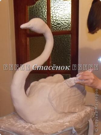 """Мастер-класс Лепка:  """"Лебеди в сад"""" Бутылки пластиковые, Гипс, Проволока. Фото 15"""