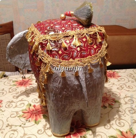 Мастер-класс Папье-маше: Слон-сундучок Бумага газетная. Фото 11