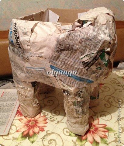 Мастер-класс Папье-маше: Слон-сундучок Бумага газетная. Фото 4