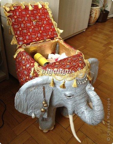 Мастер-класс Папье-маше: Слон-сундучок Бумага газетная. Фото 2