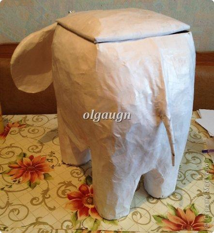 Мастер-класс Папье-маше: Слон-сундучок Бумага газетная. Фото 6