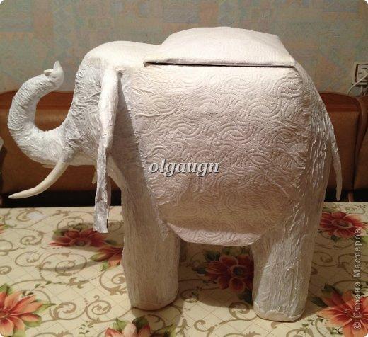 Мастер-класс Папье-маше: Слон-сундучок Бумага газетная. Фото 9