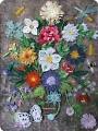 Картина панно рисунок День рождения Квиллинг Натюрморт в голландском стиле Цветы и насекомые Бумага фото 1.