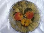 яблочное настроение - тарелка в технике декупаж+кракелюр