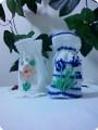 Мешочки крючком, украшенные цветами из лент