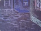 Ночная улочка - рисунок пластилином
