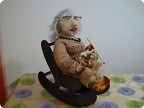 Бабушка вяжет- текстильная кукла