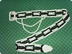 Украшение Макраме: Ремень из серебряной тесьмы и чёрных ниток...