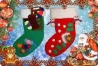 Поделка, изделие Вязание крючком: Новогодние носочки.  Пряжа Новый год.