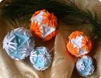 Поделка изделие Новый год Рождество Кусудама Оригами Кусудама Астры Бумага фото 1.
