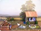 Работа выполнена из природного материала шишки сосны тельце ёжиков и. Губа Евгений 14 лет поделка Домик в деревни.