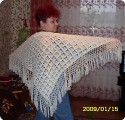 Описание: Вязание крючком: Белый платок Нитки.  Фото 1.