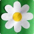 В самом простом варианте это вырезанный контур раскрытого цветка из белой бумаги на который клеится.