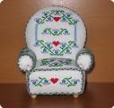 Поделка, изделие Вышивка крестом: Кресло-игольница Канва, Нитки Отдых.