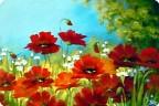 Картина, рисунок, панно Рисование и живопись: Маковая полянка.