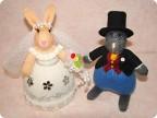 Игрушка Вязание спицами: Зайцы-молодожёны Пряжа Свадьба.  Фото 1.