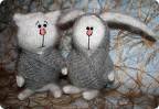 Игрушка Вязание, Вязание спицами: Грустная парочка Шерсть Новый год.