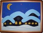 """Картина, панно Аппликация: Картина из ткани  """"Зимняя ночь """" Ткань."""