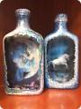 Обратный декупаж на бутылках фото