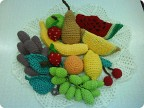 Поделка, изделие Вязание крючком: овощи фрукты растения Нитки.