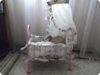 Декор предметов, Шитьё, : Новый образ кроватки для куклы Ткань .