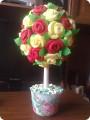 Дерево счастья из салфеток розы
