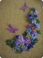 Картина панно рисунок Бисероплетение Цветы и бабочки из бисера Бисер фото 1.