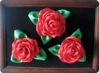 Картина, панно Шитьё: Розы из атласных лент Бумага бархатная, Клей...