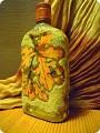 Поделка из бутылки стеклянной декупаж