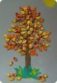 Картина панно рисунок Праздник осени Аппликация Осеннее дерево Краска Материал природный Пластилин.