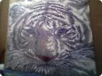 Белый тигр из бисера.Картина изготовлена в технике ткачество на станке.  Использовала схему для вышивания.