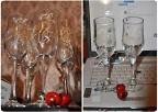 Роспись - контурами стеклянных бокалов, кружки и бутылки.