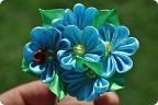 Цветы из атласных лент незабудки 15