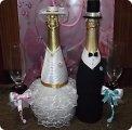 Свадебные бутылки в лентах своими руками фото