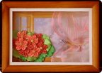Картина панно рисунок Цумами Канзаши Фиалка на окне Бисер Ленты фото 1.