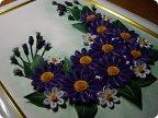 Картина панно рисунок День рождения Квиллинг Фиолетовые цветы Бумага фото 1.