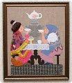 """Картины и панно ручной работы.  Ярмарка Мастеров - ручная работа картина  """"У самовара """" лоскутное шитье."""