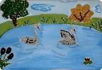 Белые лебеди на озере