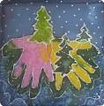 Новогодний батик из ладошек