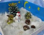 Снеговичек и ежики в Новогоднем лесу