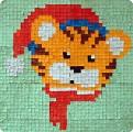 Тигрёнок Усатый-полосатый и очень хороший тигр Сложился из мозаики у нас. .