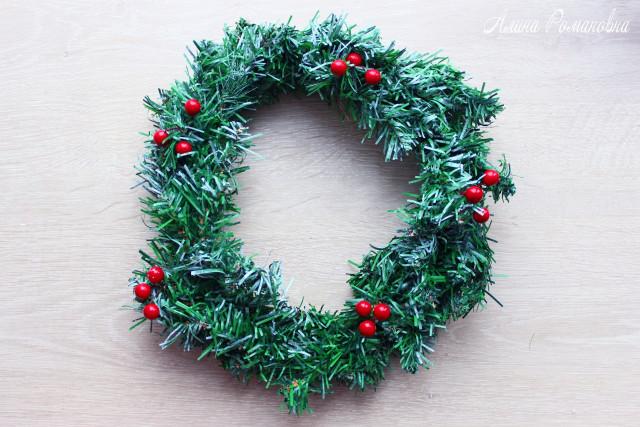 Новогодний венок из основы Fix Price за 99 руб, новогодний венок, фикс прайс, товары фикс прайс, алина романовна, рождественский венок