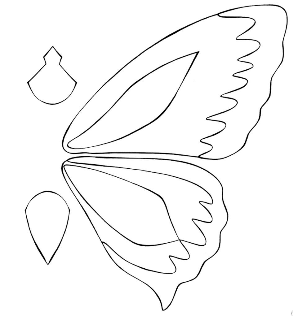 Аппликация бабочки из ткани