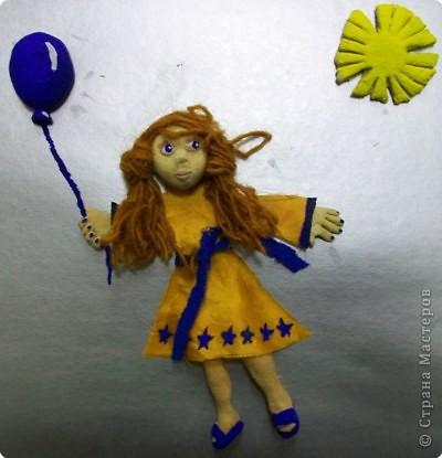 Ассамбляж, Лепка: Девочка с синим шариком