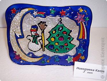 Снеговик и ёлка. Николаева Катя 5 лет