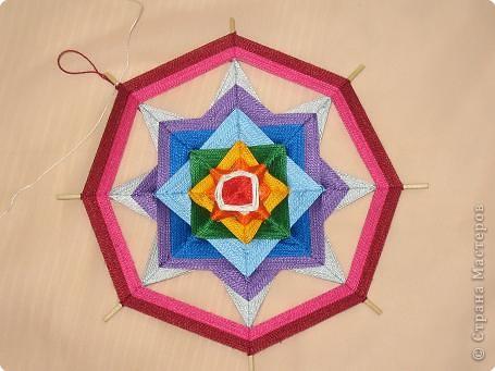 Мастер-класс Поделка изделие Плетение Радужная мандала Пряжа фото 18