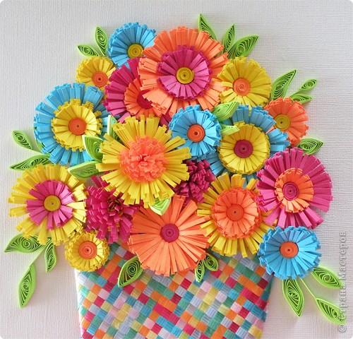 Квиллинг: Корзина с цветами фото 3