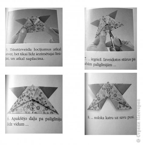 """Для выполнения декора на окно самое главное правильно выбрать бумагу. Она должна быть полупрозрачная. Прикрепляли детали с помощью «липучки» (плакатный клей).  Для своей работы мы использовали бабочки, выполненные в технике оригами. Базовая форма """"Двойной треугольник""""  фото 3"""
